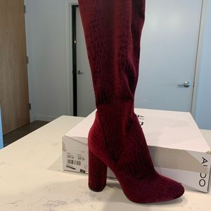 Aldo Tenesha Burgundy Velvet Over the Knee Boot